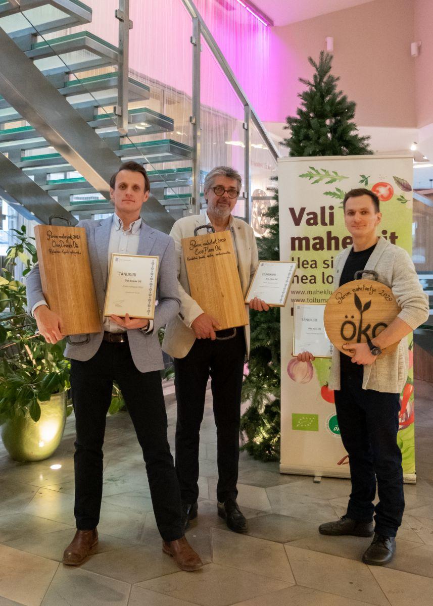 Konkursside võitjad Juhan Kanemägi (Õun Drinks), Sandro Batisto Rossi (Eco Flora)  ja Harro Rannamets (Ehe Mesi). Foto: Tarmo Pihelgas